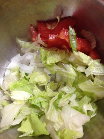 Lettuce, onion, and tomato!