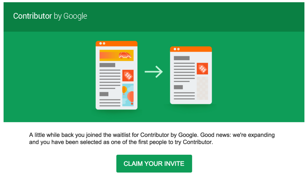 My email invitation to join Google Contributor