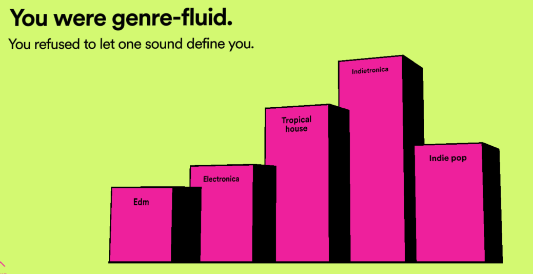 "Screenshot of Spotify Wrapped campaign showing ""You were genre-fluid"""